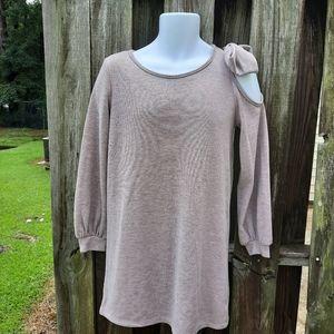 Everly Mauve Sweater Dress, Soft, Cold Shoulder
